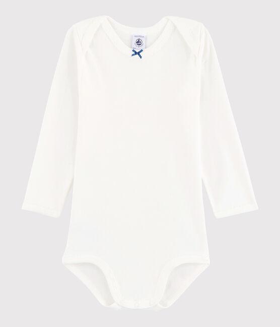 Langärmeliger Baby-Body Mädchen weiss Marshmallow / blau Acier