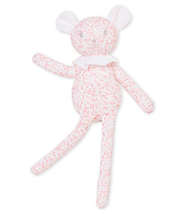 Kuschellamm aus bedrucktem Jersey weiss Marshmallow / rosa Joli