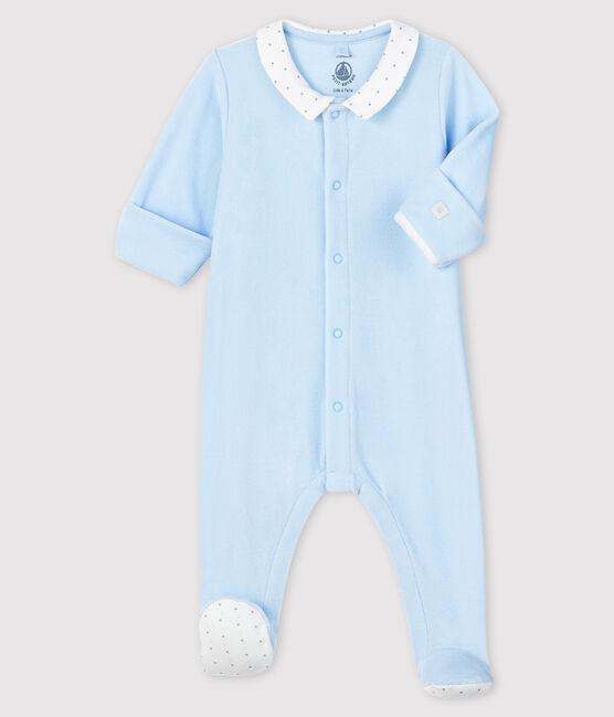 Blauer Baby-Strampler aus Samt mit Kragen für Jungen blau Fraicheur
