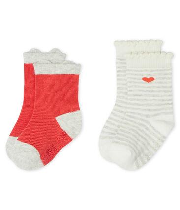 Set aus zwei Paar Babystrümpfen für Mädchen rot Signal