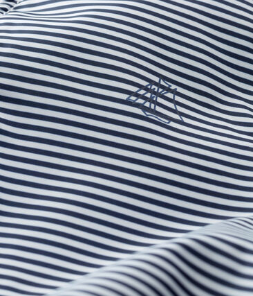 Gestreifte Baby-Windjacke Unisex blau Smoking / weiss Marshmallow