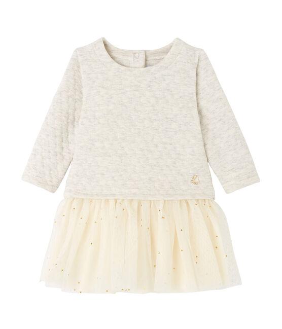 Gestepptes Baby-Mädchen-Kleid aus gedoppeltem Jersey mit 2-in-1-Effekt grau Montelimar Chine
