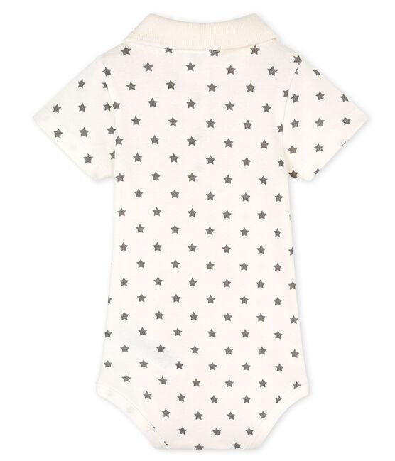 Baby-Body, gemustert, mit Polohemdkragen für Jungen weiss Marshmallow / grau Gris