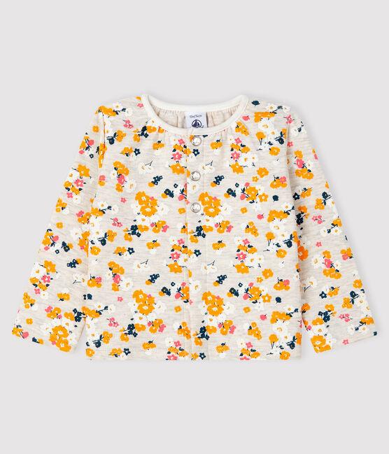 Baby-Cardigan aus Doppeljersey für Mädchen beige Montelimar / weiss Multico