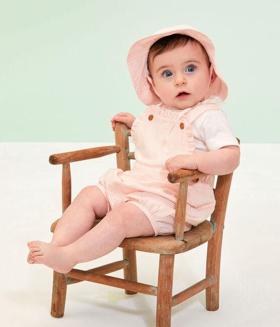 Gestreifte Baby-Kurzlatzhose für Mädchen rosa Rosako / weiss Marshmallow
