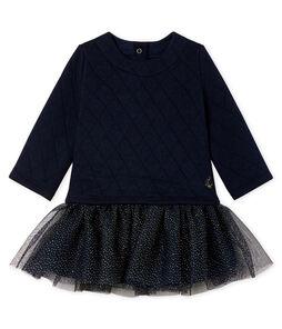 Langärmeliges Babykleid aus Materialmix für Mädchen
