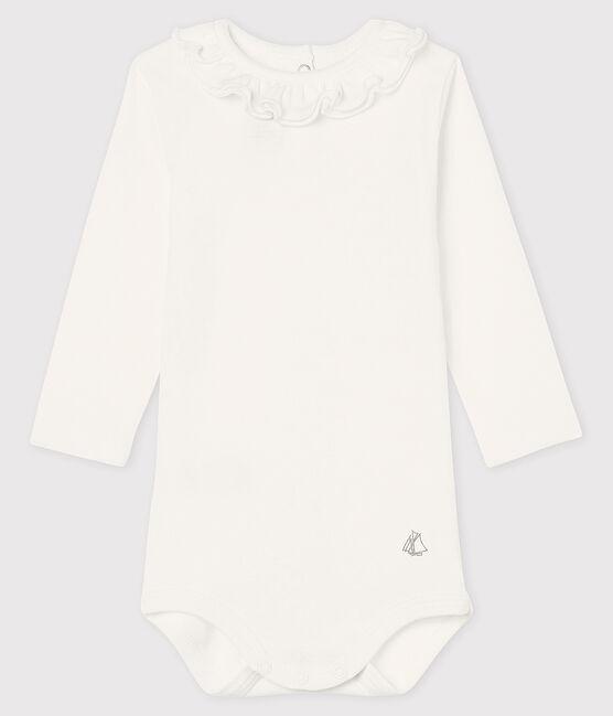 Langärmliger Baby-Body für Mädchen weiss Marshmallow