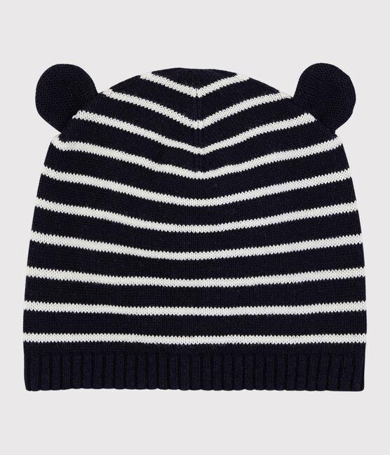 Gestreifte Baby-Mütze für Mädchen/Jungen blau Smoking / weiss Marshmallow