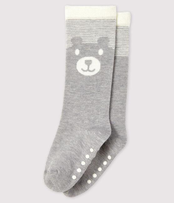 Lange Baby-Socken grau Beluga / weiss Marshmallow