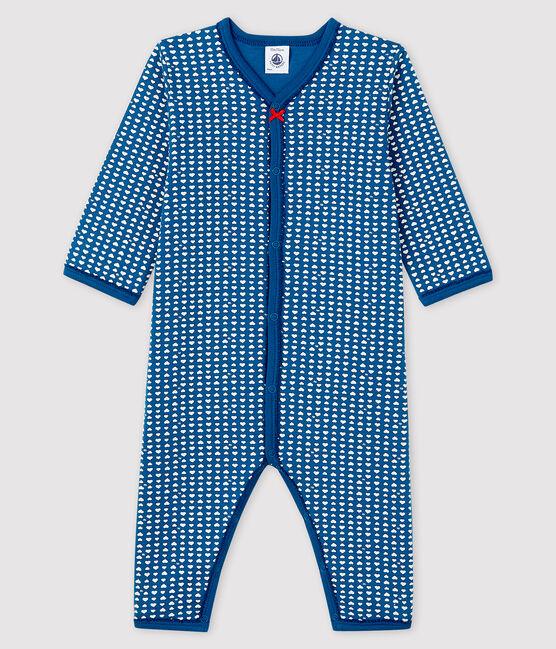 Blauer Baby-Strampler ohne Fuß aus Doppeljersey für Mädchen blau Major / weiss Ecume