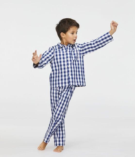Twill-Pyjama mit Karo-Muster für Jungen blau Medieval / weiss Marshmallow