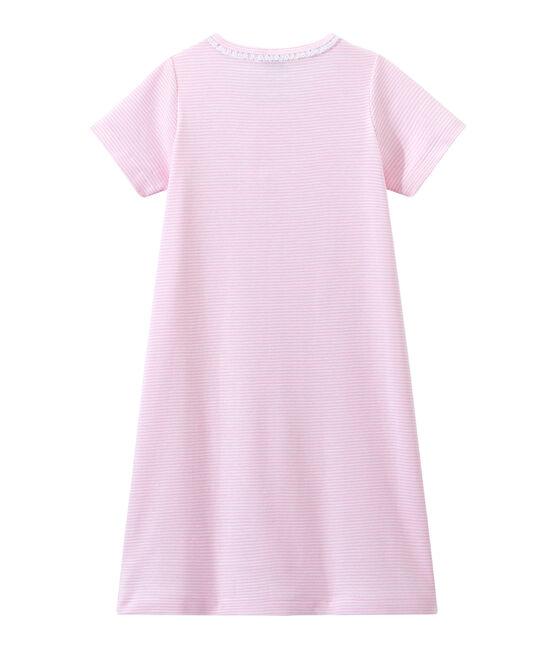 Mädchen-Nachthemd mit Milleraies-Ringelmuster rosa Babylone / weiss Ecume