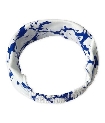 Bedrucktes Mädchen-Kopftuch weiss Marshmallow / blau Perse