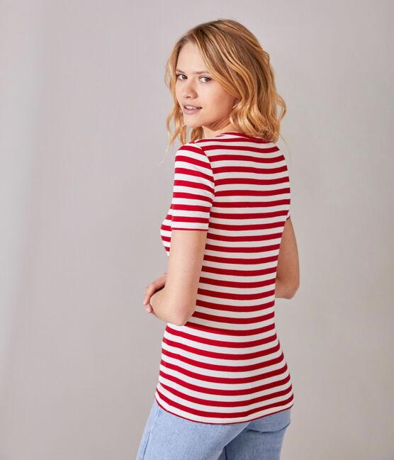 Gestreiftes Damen-T-Shirt mit V-Ausschnitt aus Original-Rippstrick rot Terkuit / weiss Marshmallow