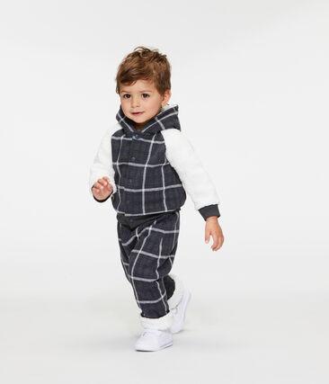 Kariertes Baby-Strick-Kapuzensweatshirt für Jungen mit Sherpa in Schaffelloptik.
