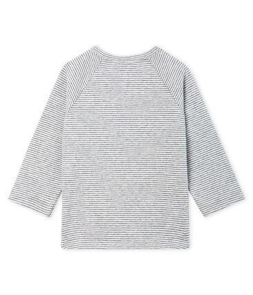 Langärmeliges Baby-T-Shirt für Jungen mit Milleraies-Ringelmuster grau Subway / weiss Marshmallow
