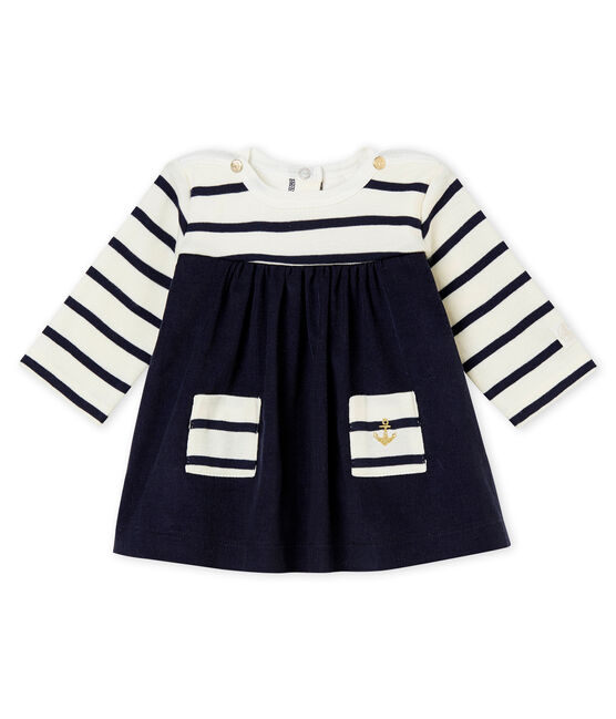 Klassisches Baby MädchenKleid beige Coquille / blau Abysse