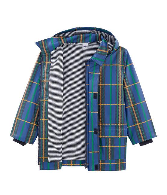Kinder-Regenjacke mit Karomuster unisex blau Limoges / weiss Multico