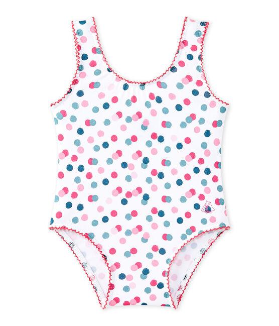 Bedruckter Baby-Mädchen-Badeanzug weiss Marshmallow / weiss Multico