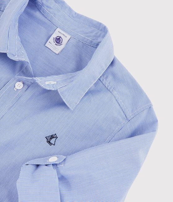 Gestreiftes Kinderhemd für Jungen blau Bleu / weiss Blanc