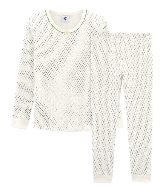 Sehr eng anliegender Rippstrick-Pyjama für kleine Mädchen weiss Marshmallow / weiss Multico