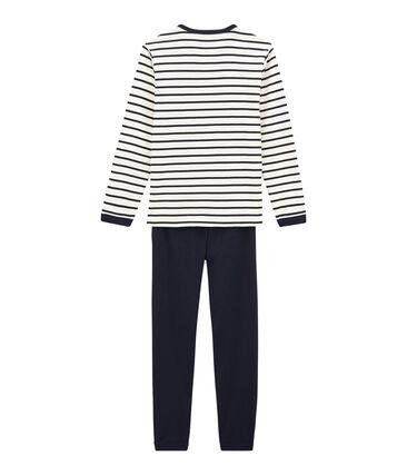Rippstrick-Pyjama für Jungen weiss Marshmallow / blau Smoking