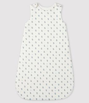 Baby-Schlafsack aus Rippstrick weiss Marshmallow / grau Gris