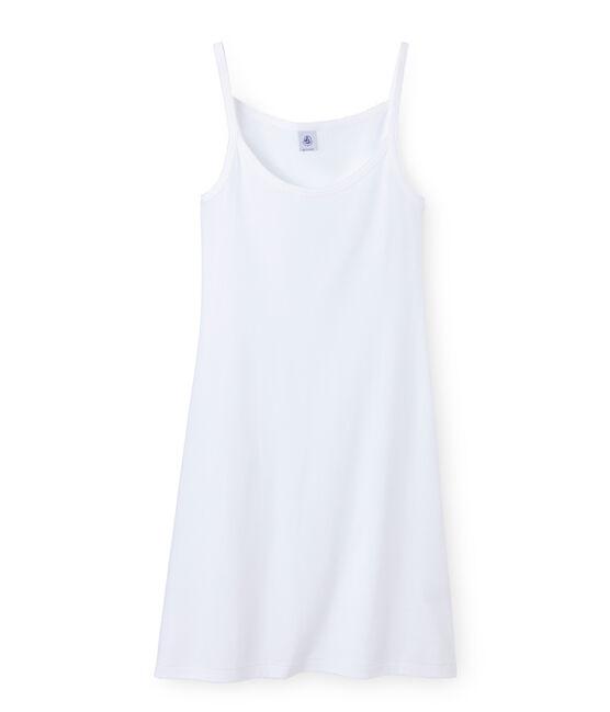 Chemise à bretelles femme coton/laine/soie weiss Lait