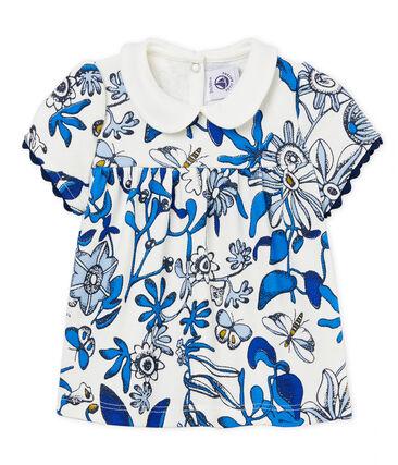 Gemusterte kurzärmelige baby-bluse aus piqué-jersey