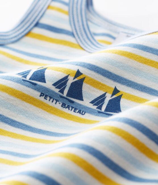 Baby-Kurzoveralls aus Rippstrick für Jungen blau Alaska / weiss Multico