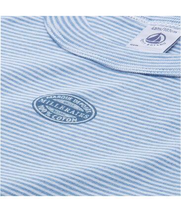Kurzer Schlafanzug für Jungen, geringelte BW blau Alaska / weiss Ecume