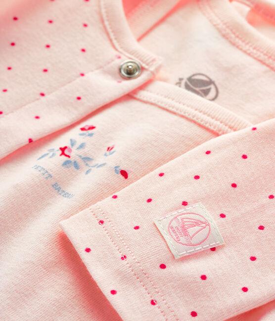 2-teiliges Baby-Ensemble aus Rippstrick rosa Fleur / rosa Geisha