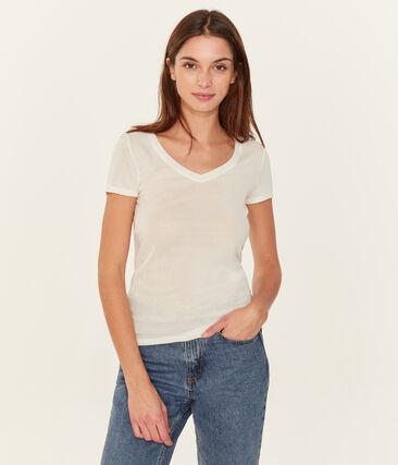 Kurzarm-t-shirt v-ausschnitt damen weiss Ecume