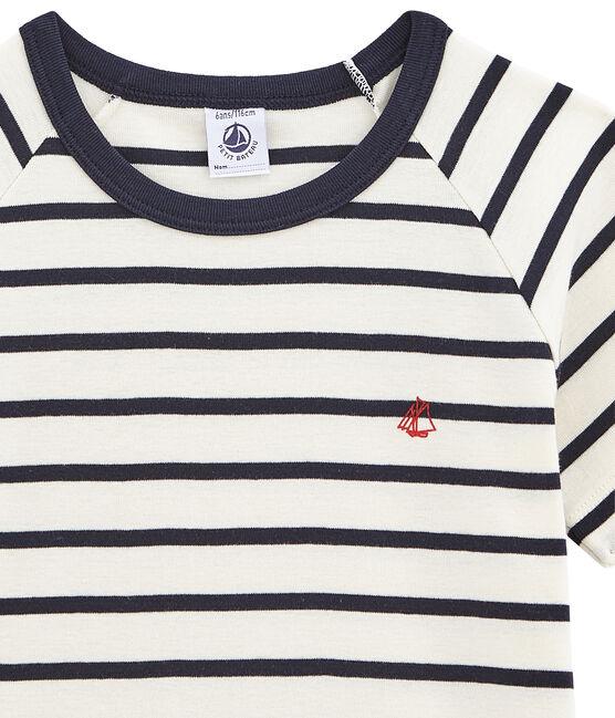 Rippstrick-Kurzpyjama für Jungen weiss Marshmallow / blau Smoking