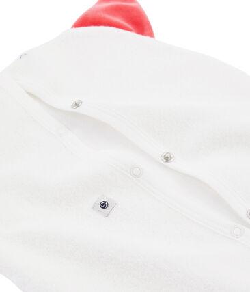 Pyjama-Beutel aus angerautem, extra warmem Bouclé-Frottier. weiss Marshmallow / rot Signal