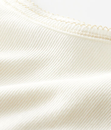 Trägerhemd aus Baumwolle-Wolle-Seide-Gemisch für kleine Mädchen weiss Marshmallow