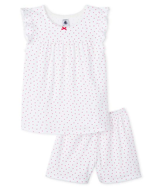 Kurz-Pyjama rosa aus Rippstrick für kleine Mädchen