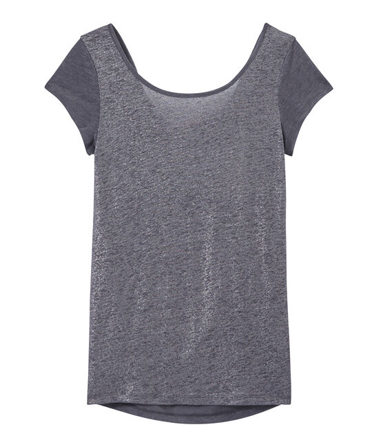 Damen-T-Shirt mit Wasserfall-Ausschnitt aus irisierendem Leinen grau Maki / grau Argent