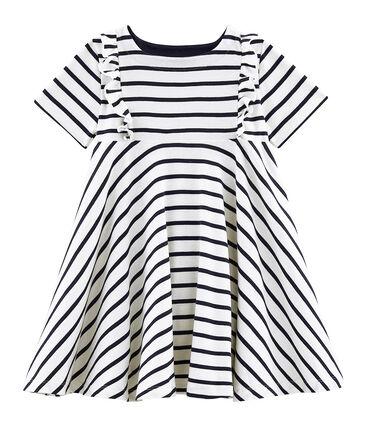Kurzärmeliges Kinderkleid für Mädchen beige Coquille / blau Smoking