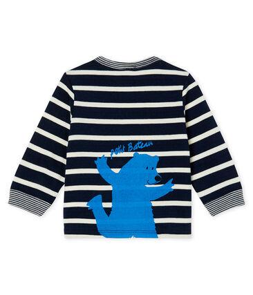 Langärmeliges Baby-T-Shirt für Jungen blau Smoking / weiss Marshmallow