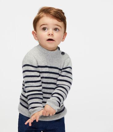 Baby-Kaschmirpullover für Jungen grau Beluga / blau Smoking