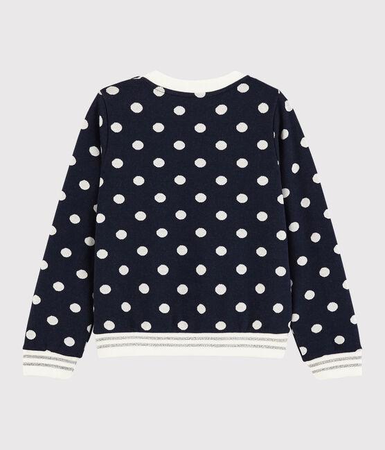 Kinder-Sweatshirt für Mädchen blau Smoking / weiss Marshmallow