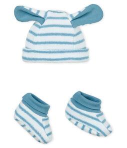 Baby-mütze und hausschuhe unisex gestreift