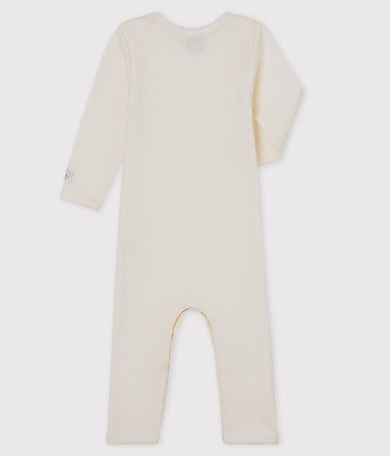 Weißer Baby-Body mit langen Beinen aus Wolle und Baumwolle beige Ecru