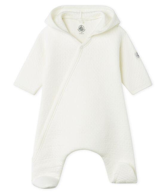 Langer Baby-Overall aus gestepptem Doppeljersey weiss Marshmallow