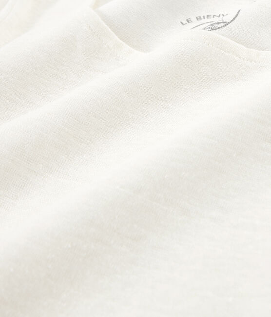 Langarm-leinen-t-shirt damen weiss Marshmallow
