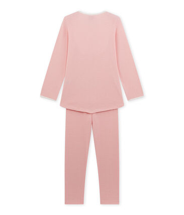 Mädchen-Schlafanzug mit Milleraies-Ringelmuster rosa Gretel / weiss Lait