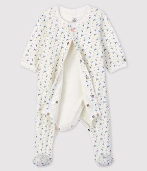 Baby-Bodyjama aus Velours mit Blümchen-Motiv für Mädchen weiss Marshmallow / weiss Multico