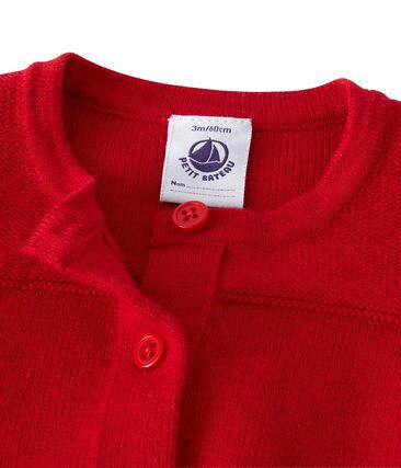 Baby-Mädchen-Cardigan aus Wolle/Baumwolle rot Froufrou