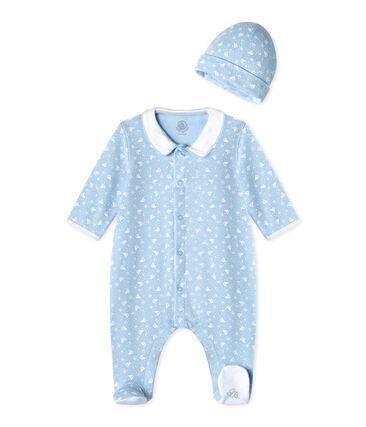 Unisex-Baby-Strampler und Mütze für Neugeborene blau Toudou / weiss Ecume